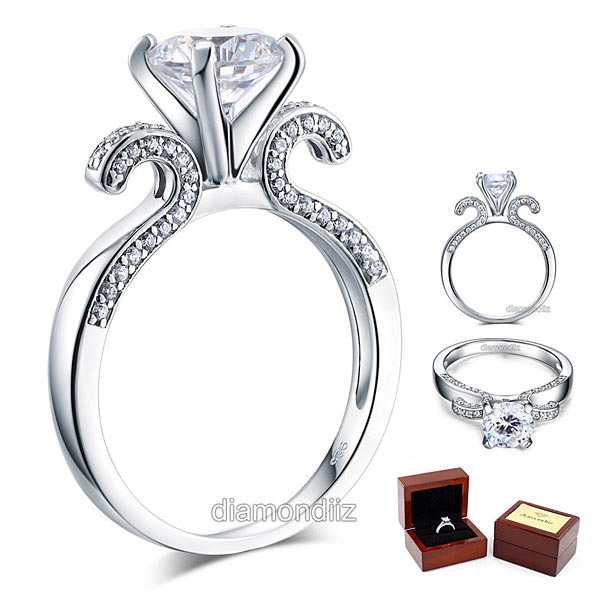 925 Sterling Silver Wedding Engagement Ring Vintage 2 Carat Lab Created Diamo