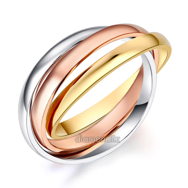 3-Color Multi-Tone 14K Solid White, Rose, Yellow Gold