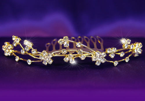 flower girl gold tiara: