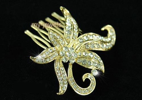 Wedding Bridal Flower Gold Plated Hair Comb T1322
