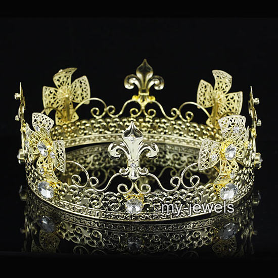 mens pageant imperial tiara full circle round gold king