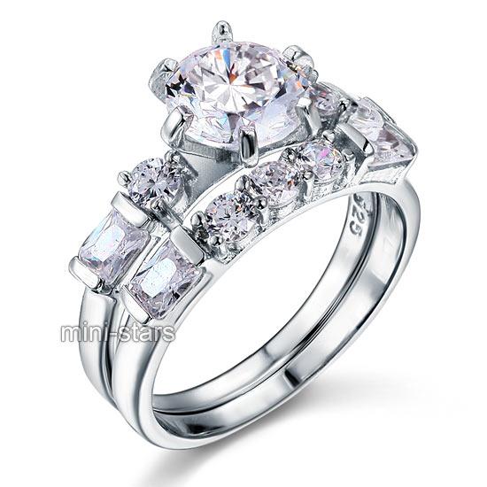 2 Karat Hochwertiger Verlobungsring Set 925 Silber Zirkonia Ring FR8101